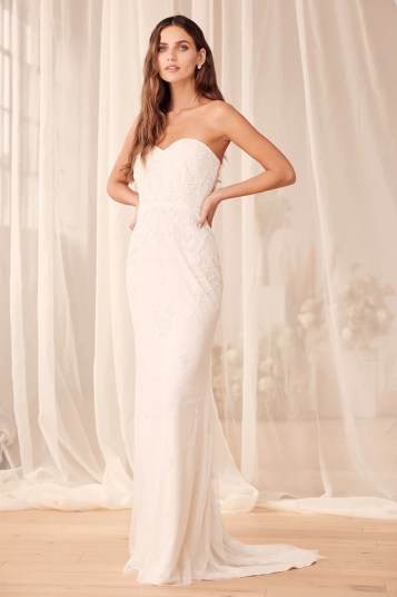 Thinking About Love White Sequin Strapless Mermaid Maxi Dress