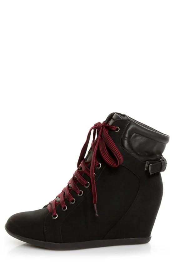 Bamboo Mariela 03 Black LaceUp Wedge Sneakers  4800