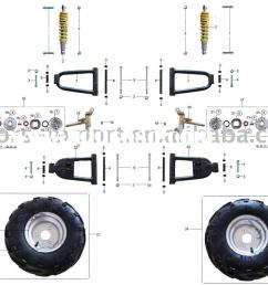 50cc 110cc atv parts front wheels and related parts [ 1200 x 900 Pixel ]