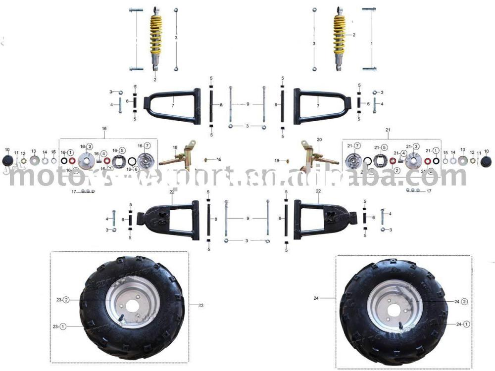 medium resolution of 50cc 110cc atv parts front wheels and related parts