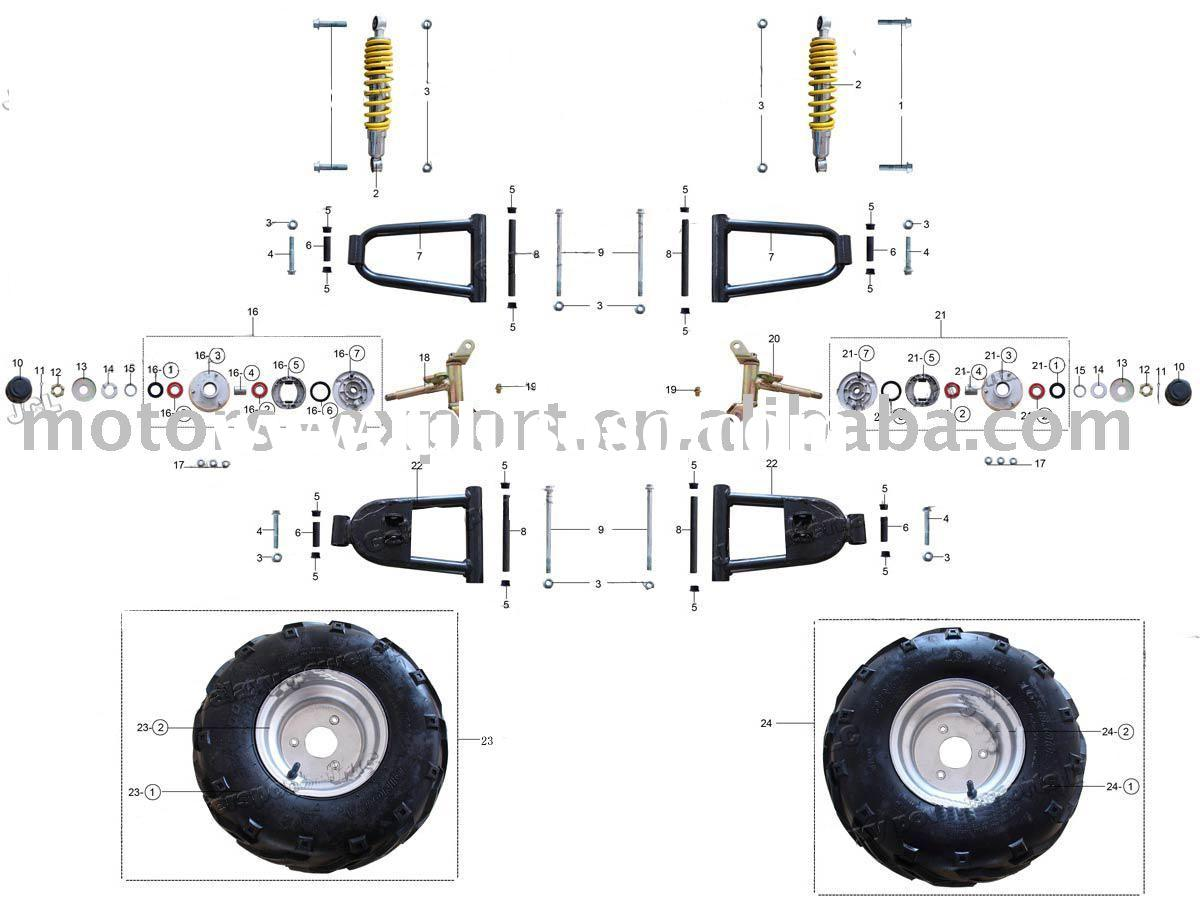 hight resolution of 50cc 110cc atv parts front wheels and related parts