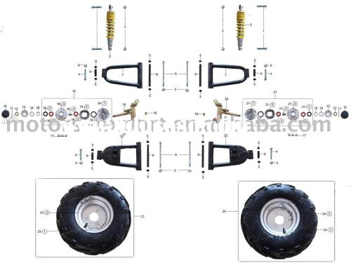 small resolution of 50cc 110cc atv parts front wheels and related parts