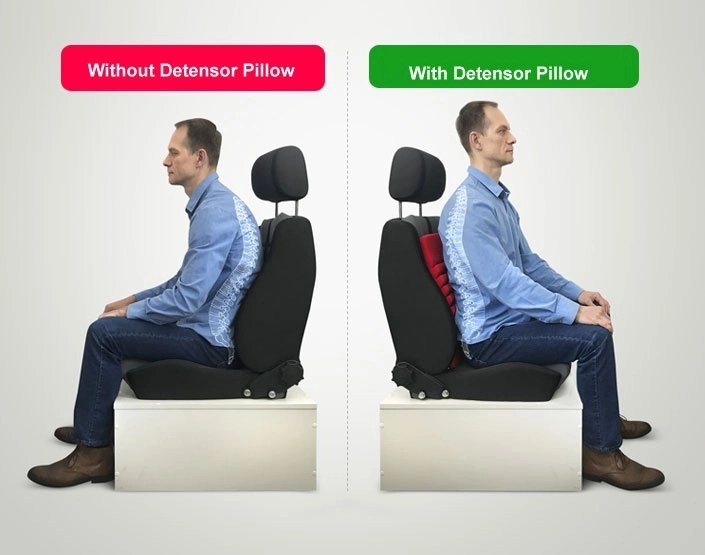 Seating position with and without Detensor pillow.