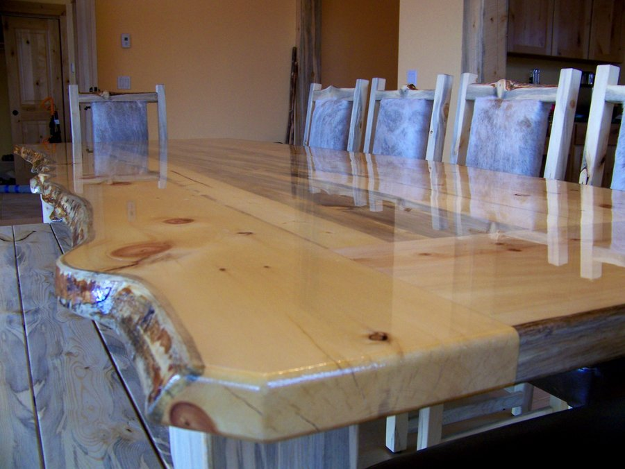 Beetle Kill Pine Live Edge Dining Table with Chairs and