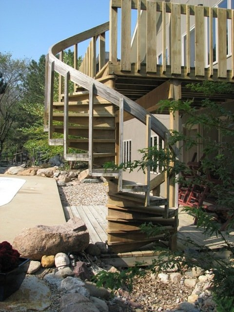 Outdoor Spiral Stairs By Judd Lumberjocks Com Woodworking | Outdoor Spiral Staircase For Deck | Farmhouse | Basement | Multi Level | 2Nd Floor | Steel