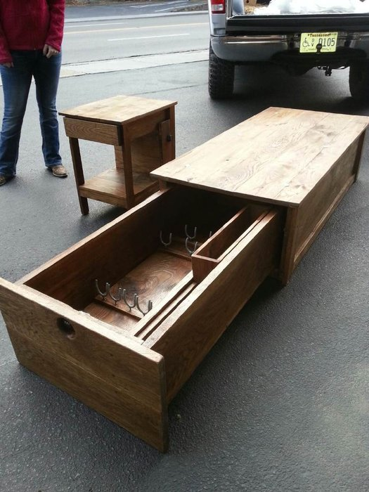 coffee table with locking gun safe by
