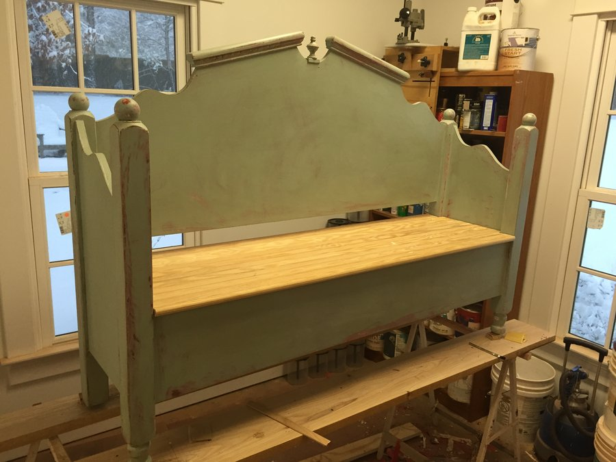 old bed made into bench by