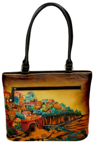 poseta pictata manual piele naturala Niarvi Sisley village Brown