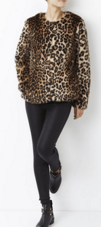 Haina de blana dama animal print leopard model scurt