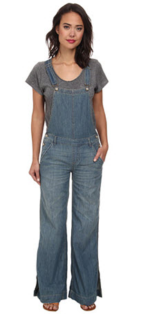 salopeta denim Free People Washed Chambray D Ring Back Overall in Bee Wash