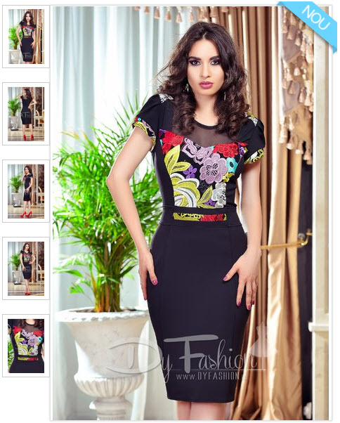 rochie midi eleganta cu broderie florala cu maneca scurta, de culoare neagra