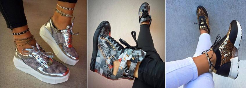 Oferta cu sneakers tenisi si adidasi dama cu platforma online