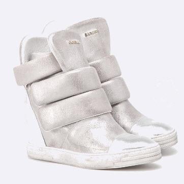 sneakers cu platforma ascunsa din piele naturala argintie