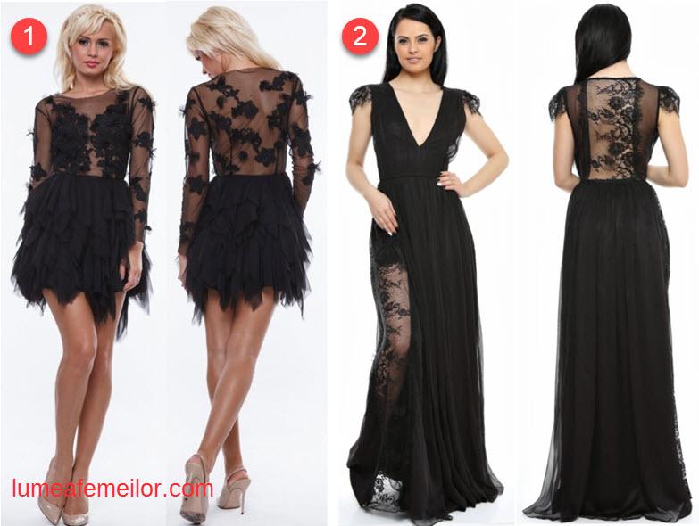rochii de seara scurte din dantela neagra sau rochii de ocazie lungi din dantela si matase naturala