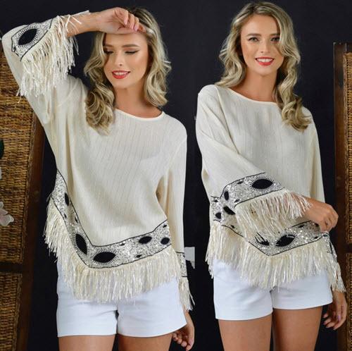 Bluza eleganta accesorizata cu fir lame, paiete si franjuri