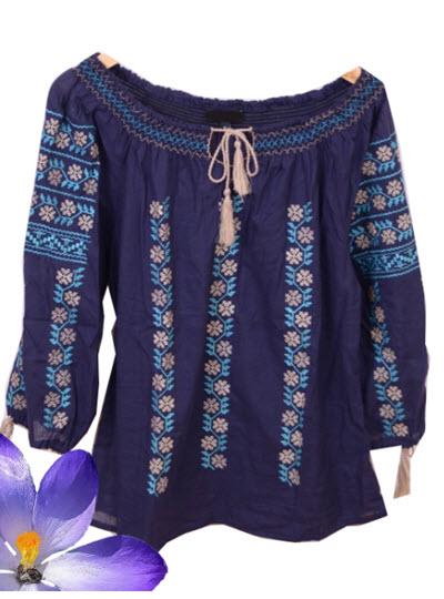 bluze tip ie ieftine bleumarin cu motive crem si turcoaz