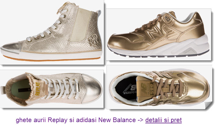 ghete aurii Replay si adidasi aurii New Balance