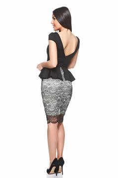 rochii office cu peplum si dantela neagra