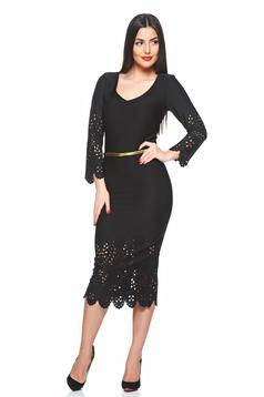 rochii peste genunchi negre mulate perforatii