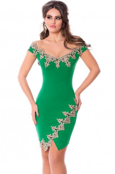 rochii verzi scurte de nunta mulata pe corp cu insertii de dantela