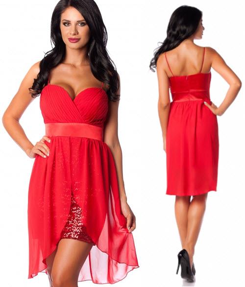 Rochie din voal rosu cu falduri petrecute si fusta din paiete