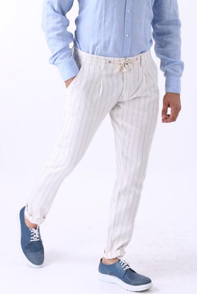 Pantaloni Barbati Casual Albi cu Dungi gri – BMan274
