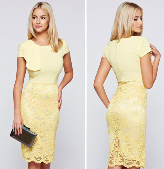 Rochie eleganta de zi midi, cu un croi mulat de culoare galbena