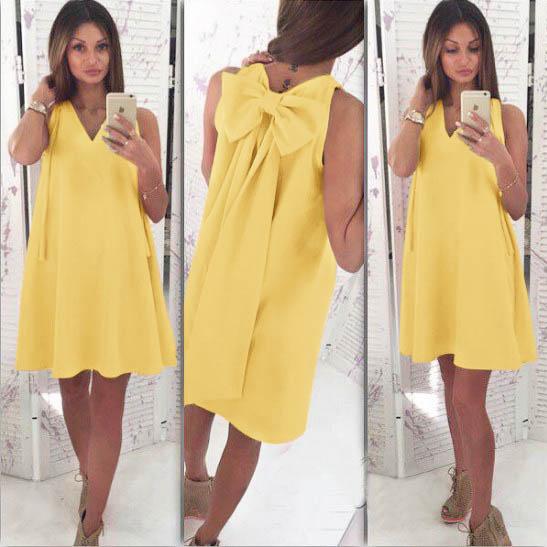 Rochii galbene fashion cu funda la spate