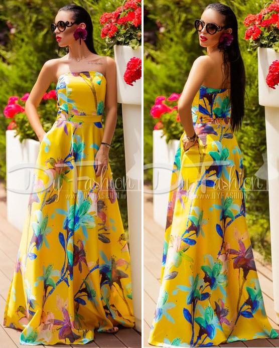 rochie de seara din tafta galbena cu flori