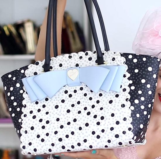 geanta mare Betsey Johnson cu funda buline