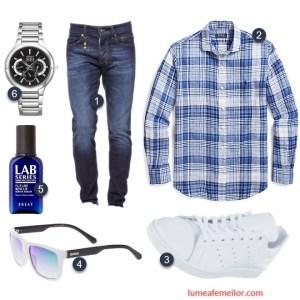 Outfit barbati cu camasa cadrilata jeansi si adidasi