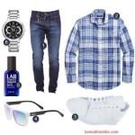 Outfit barbati cu camasa cadrilata jeansi si adidasi albi