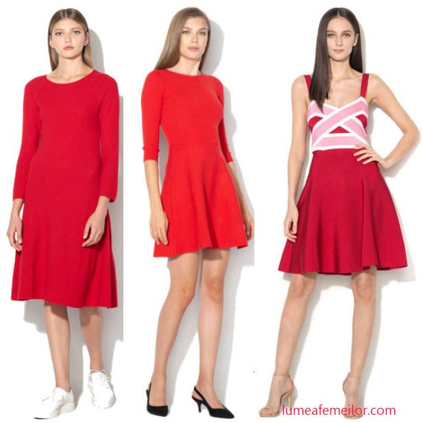 rochii din tricot rosu