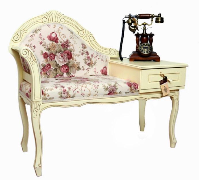 Bancheta shabby chic cu tapiterie cu flori - Bancheta sofa Stillo Rosa
