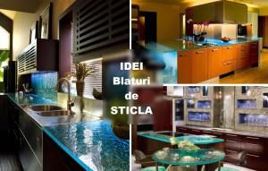 Idei de folosirea blatului de sticla alaturi de marmura granit in bucatarie
