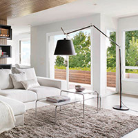 lighting in living room white and dark wood furniture modern decor at lumens com floor lamps table