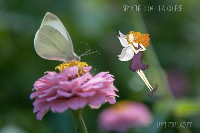 Fée Pollen et papillon butinant. © Lumi Poullaouec