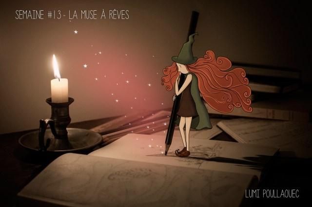 La muse à rêve est la fée dessinant les plus jolis rêves du monde à la lueur de la bougie. Image très poétique. © Lumi Poullaouec