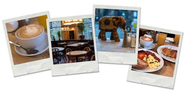 Polaroids pris dans le café Eléphant House de Edimboug. On y voit une tasse de café, la salle principale, une sculpture d'éléphant et un petit déjeuner copieux.