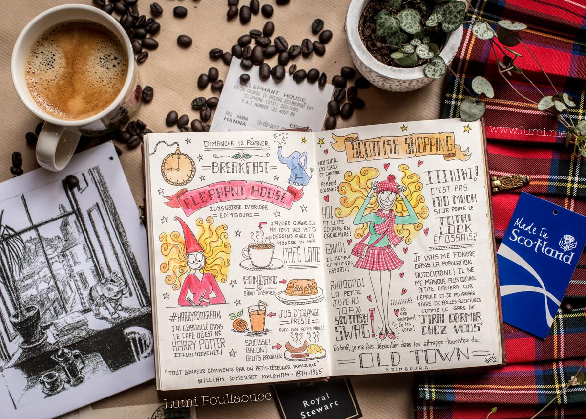Edimbourg coffe Elephant House carnet de voyage