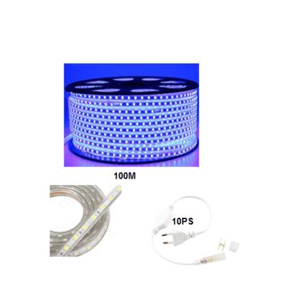 Rouleau tube light (guirlande) 100 mètre +10 fiche couleur bleu