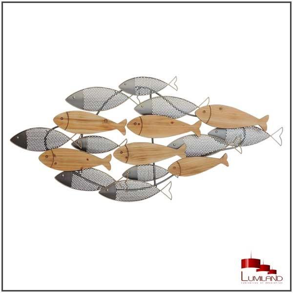 sculpture poisson metal et bois