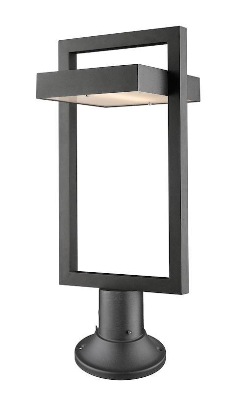 Lampe Piédestal Extérieure Z-Lite Luttrel 566PHBR-553PM-BK-LED