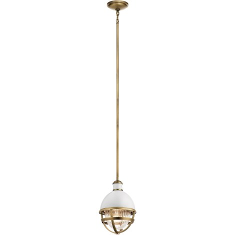 TOLLIS Luminaire suspendu fini laiton avec diffuseur clair côtelé - 8'' Diamètre - 12,5'' Hauteur - 51'' Hauteur max. - A19 1 x 75W