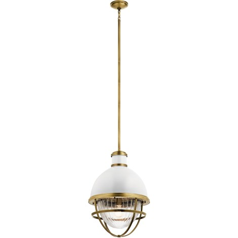 TOLLIS Luminaire suspendu fini laiton avec diffuseur clair côtelé - 16'' Diamètre - 23,75'' Hauteur - 62'' Hauteur max. - A19 1 x 100W