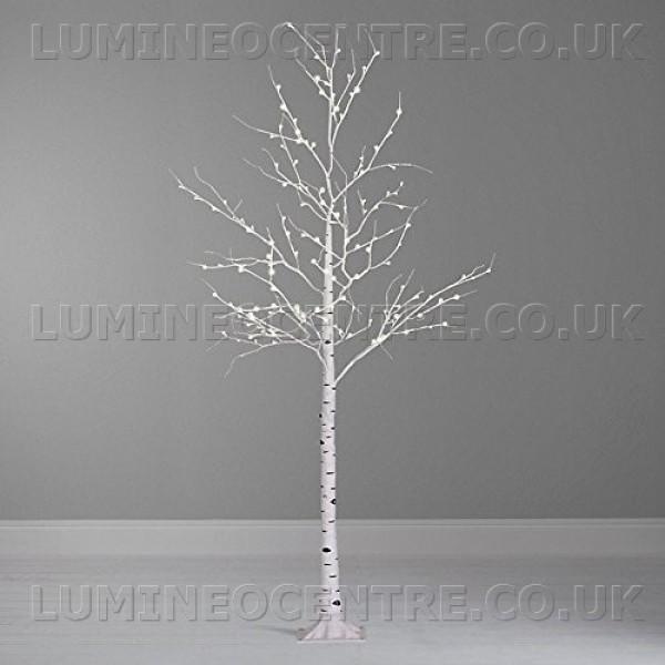Lumineo 240cm Cool White LED Prelit Birch Tree SUITABLE