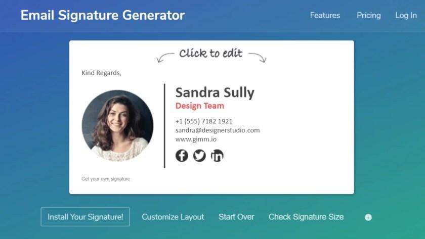 Gimmio, Gimmio email signature generator, free email signature generator, best free email signature generator, email signature maker tools.