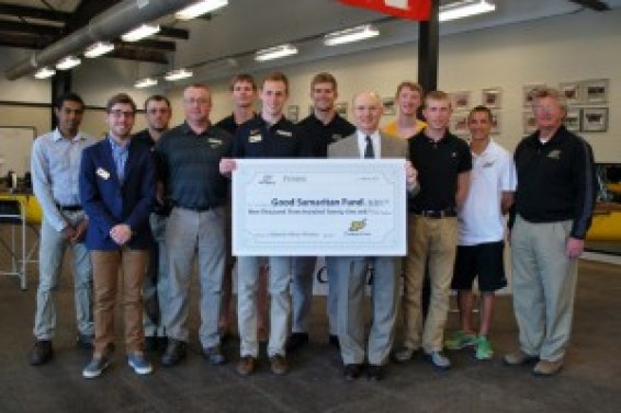 Purdue Crew Team donates $9321 to the LUM Good Samaritan Fund from Row-A-Thon 2015