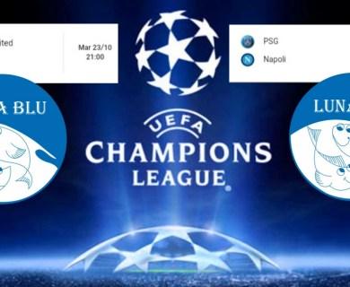 UEFA Champions League in Diretta 23 e 24 ottobre al Ristorante Pizzeria Luna Blu Parma: Juventus e Napoli..