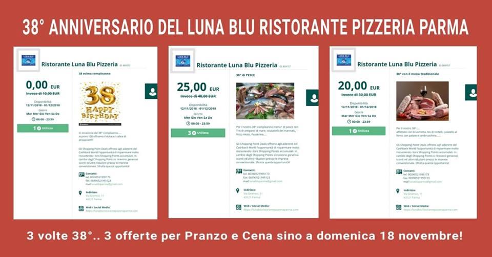 Ristorante Pizzeria Parma Luna Blu: un Mega 38° Anniversario